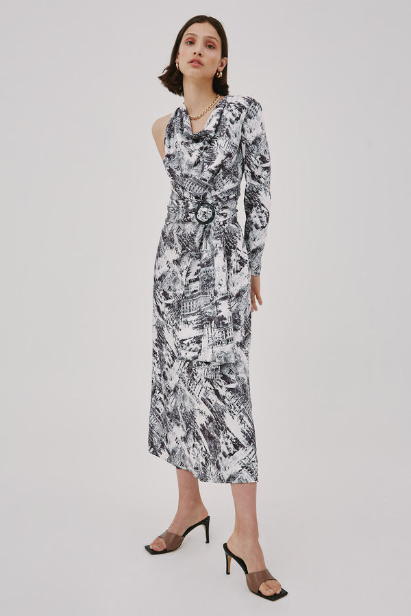 CMEO-COLLECTIVE-TRACE-MIDI-DRESS-IVORY-W-BLACK-TOILE