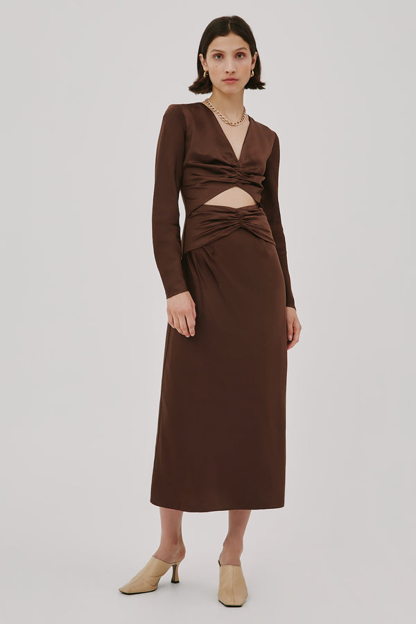 C/MEO-COLLECTIVE-CONTEMPO-MIDI-DRESS-CHOCOLATE