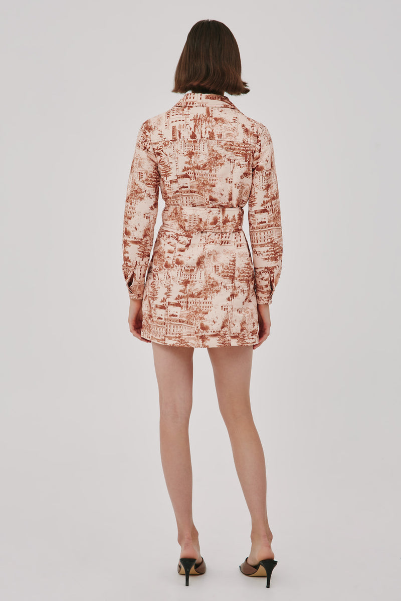 CMEO-COLLECTIVE-IN-LINE-DRESS-PEACH-W-RUST-TOILE