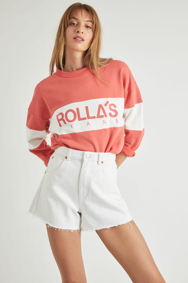 ROLLAS-LOGO-SPLIT-SWEATER-FADED-RED