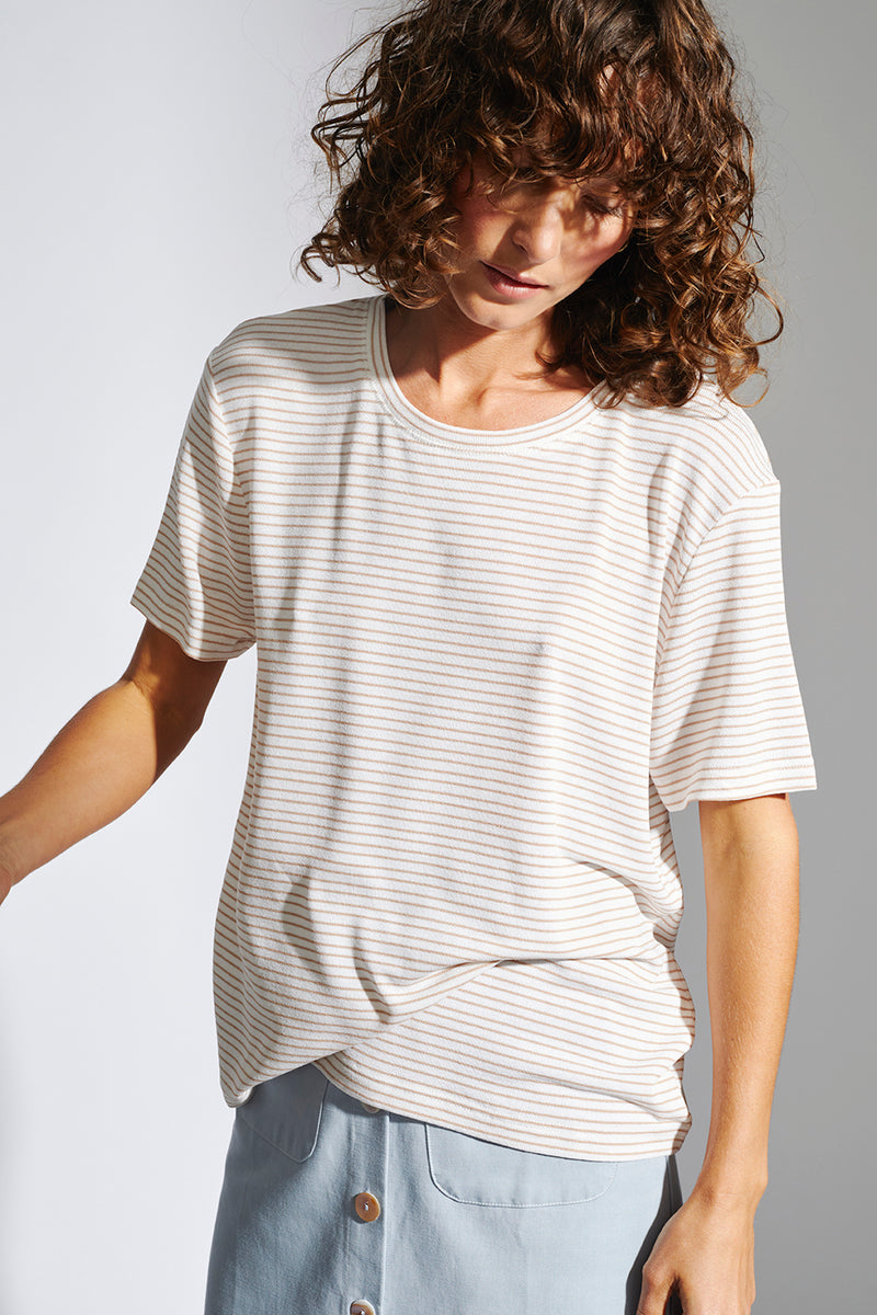 STAPLE-THE-LABEL-SANDY-STRIPE-TEE-WHITE/BEIGE