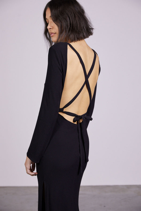 THIRD-FROM-BOUQUET-LACE-BACK-MAXI-BLACK
