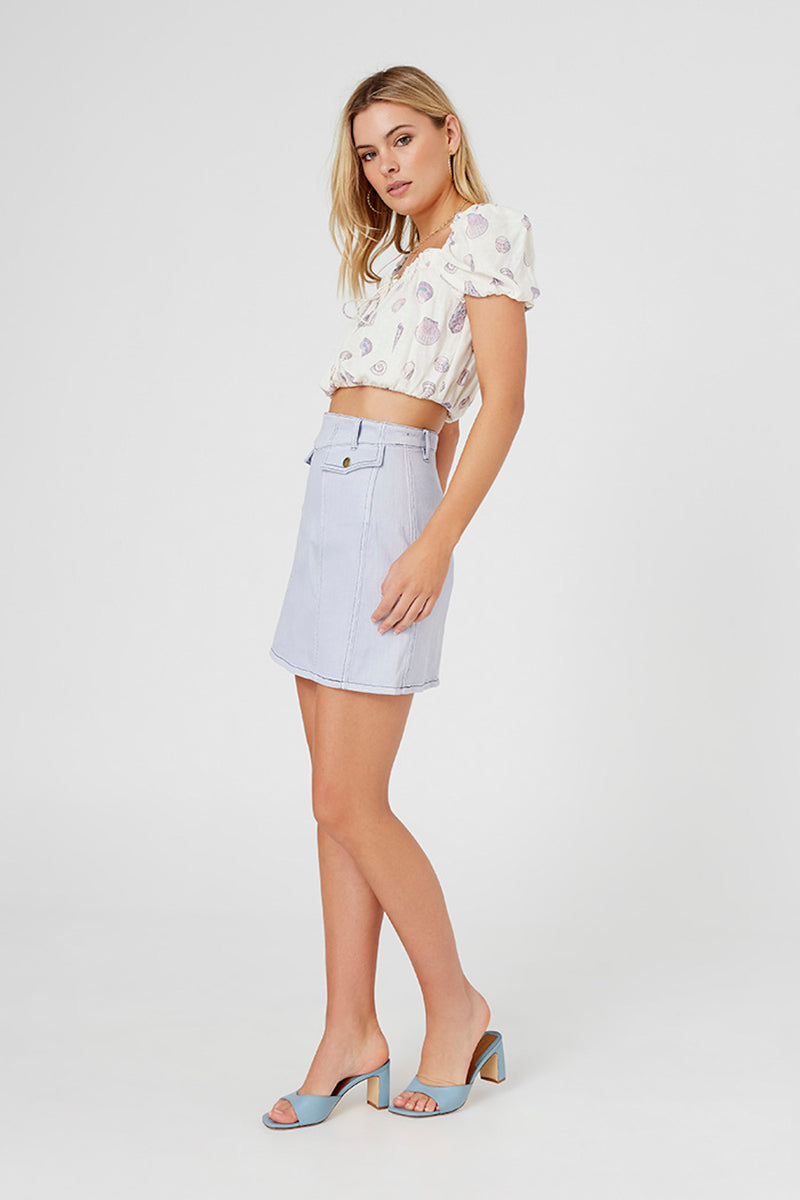 FINDERS KEEEPERS ISLA SKIRT - WASHED BLUE
