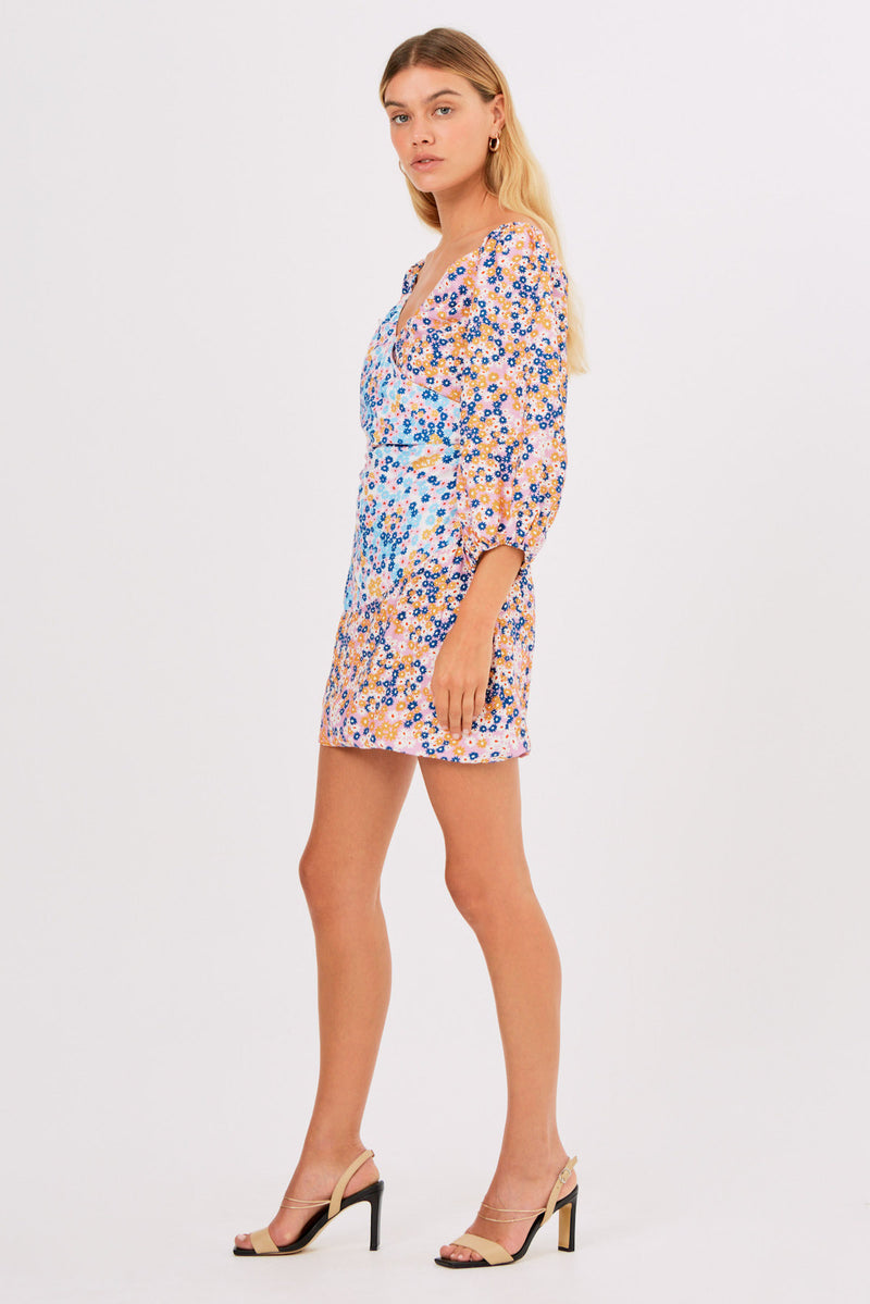 YASMINE LS MINI DRESS - MULTI DAISY-FINDERS-KEEPERS