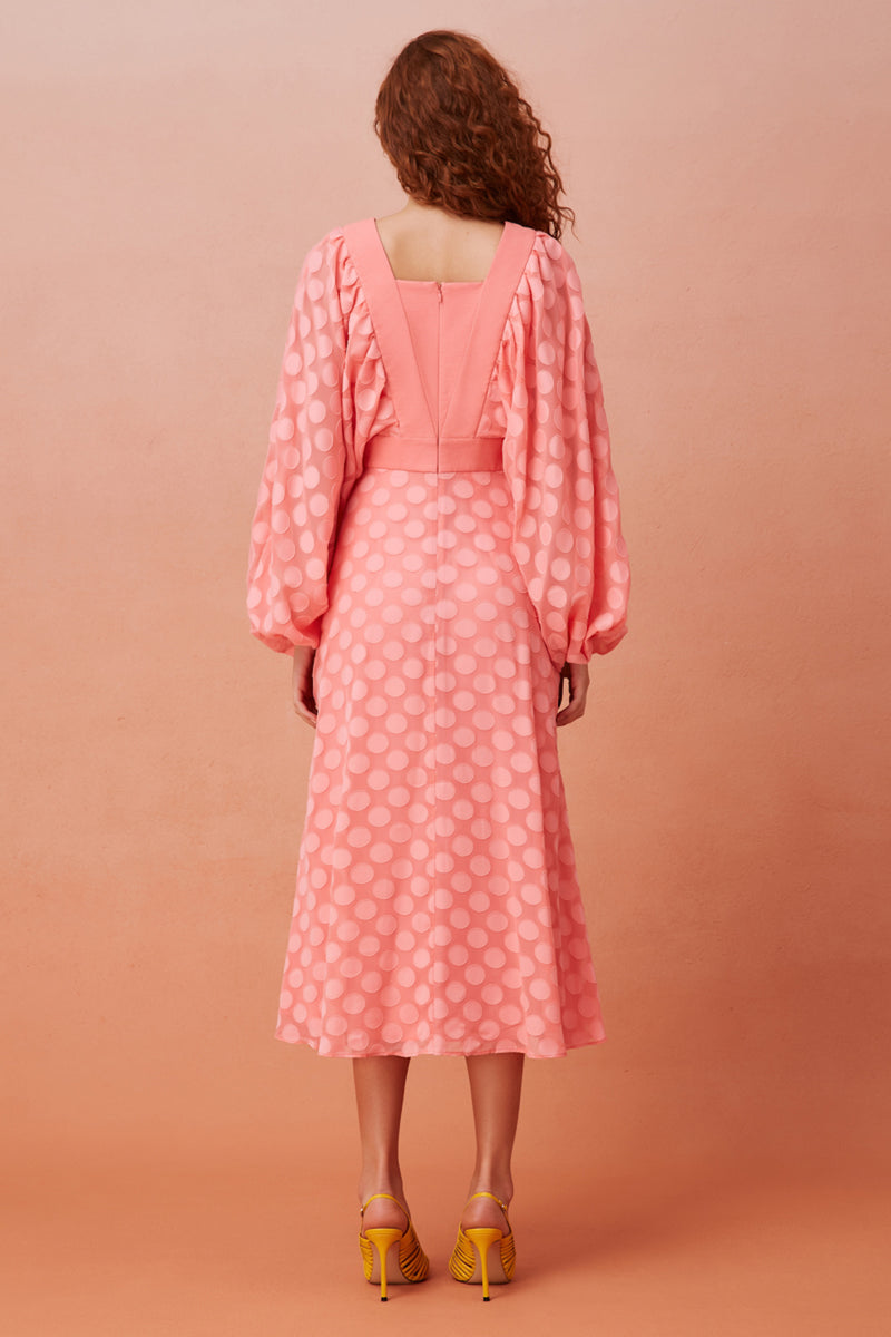 AFLOAT-LS-MIDI-DRESS-CORAL-KEEPSAKE-THE-LABEL