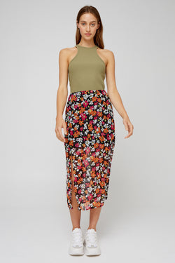 PAVILION SKIRT - BLACK FLORAL