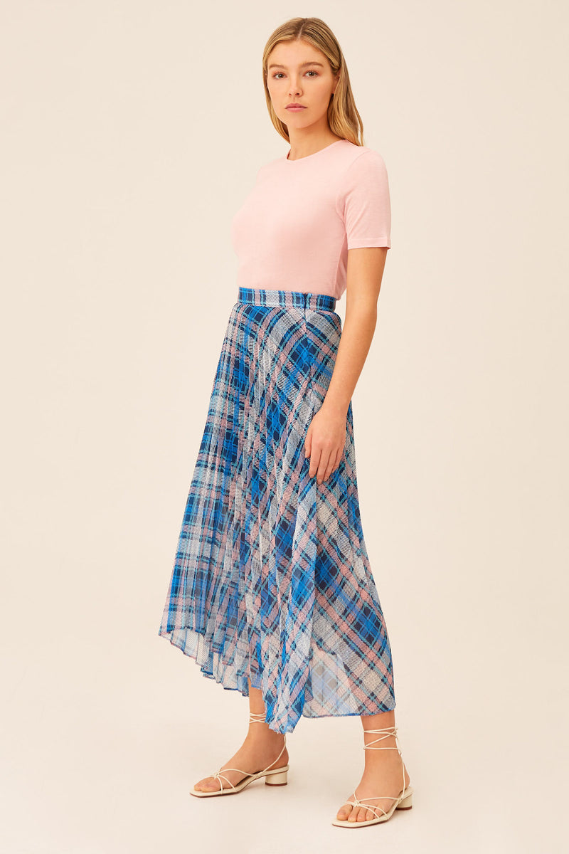 THE-FIFTH-LABEL-CEREMONY-SKIRT-MIDNIGHT-CHECK