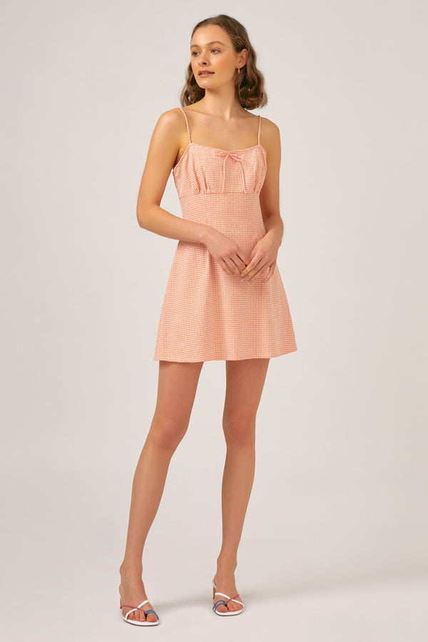 THE-FIFTH-LABEL-TUSCAN-DRESS-PEACH-GINGHAM