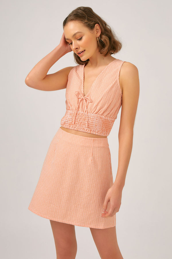 THE-FIFTH-LABEL-TUSCAN-SKIRT-PEACH-GINGHAM