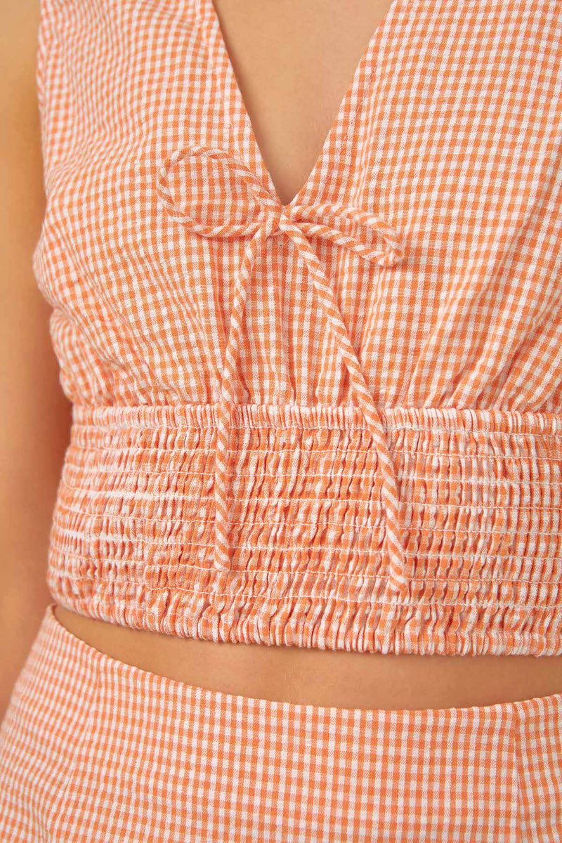 THE-FIFTH-LABEL-TUSCAN-TOP-PEACH-GINGHAM