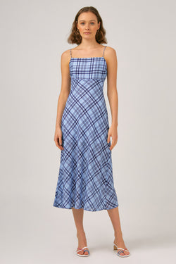 RECITAL MIDI DRESS - LIGHT BLUE CHECK