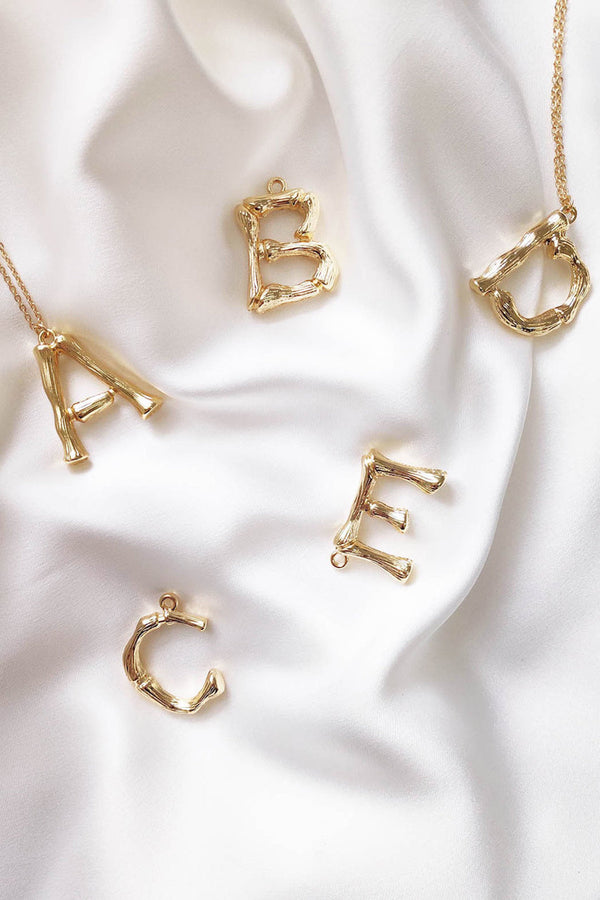 birdcageLARGE LETTER NECKLACE - GOLD