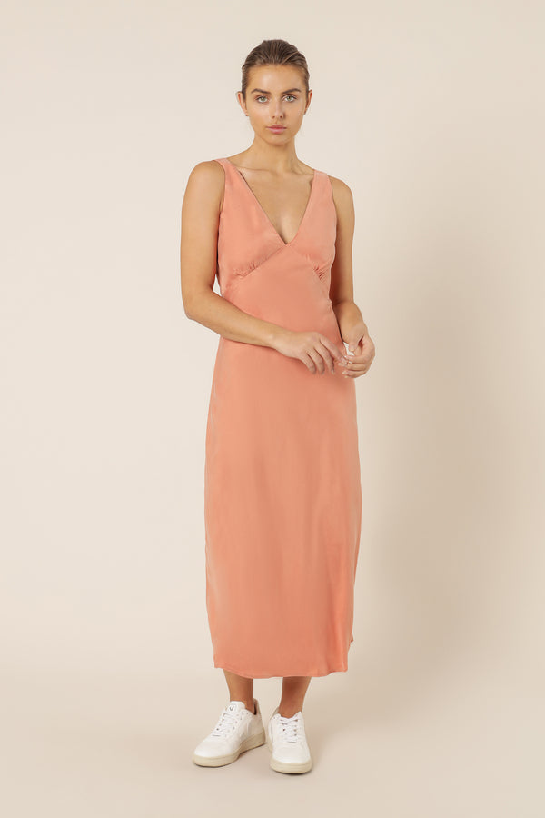 NUDE-LUCY-REESE-CUPRO-V-NECK-MIDI-DRESS-TERRACOTTA