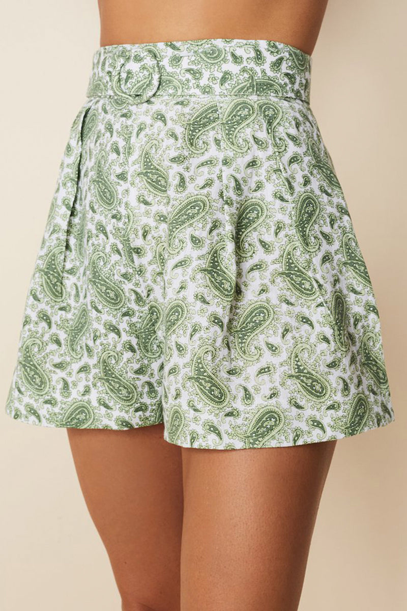 FAITHFULL-THE-BRAND-ONDINE-SHORT-SABLE-PAISLEY-PRINT-GREEN