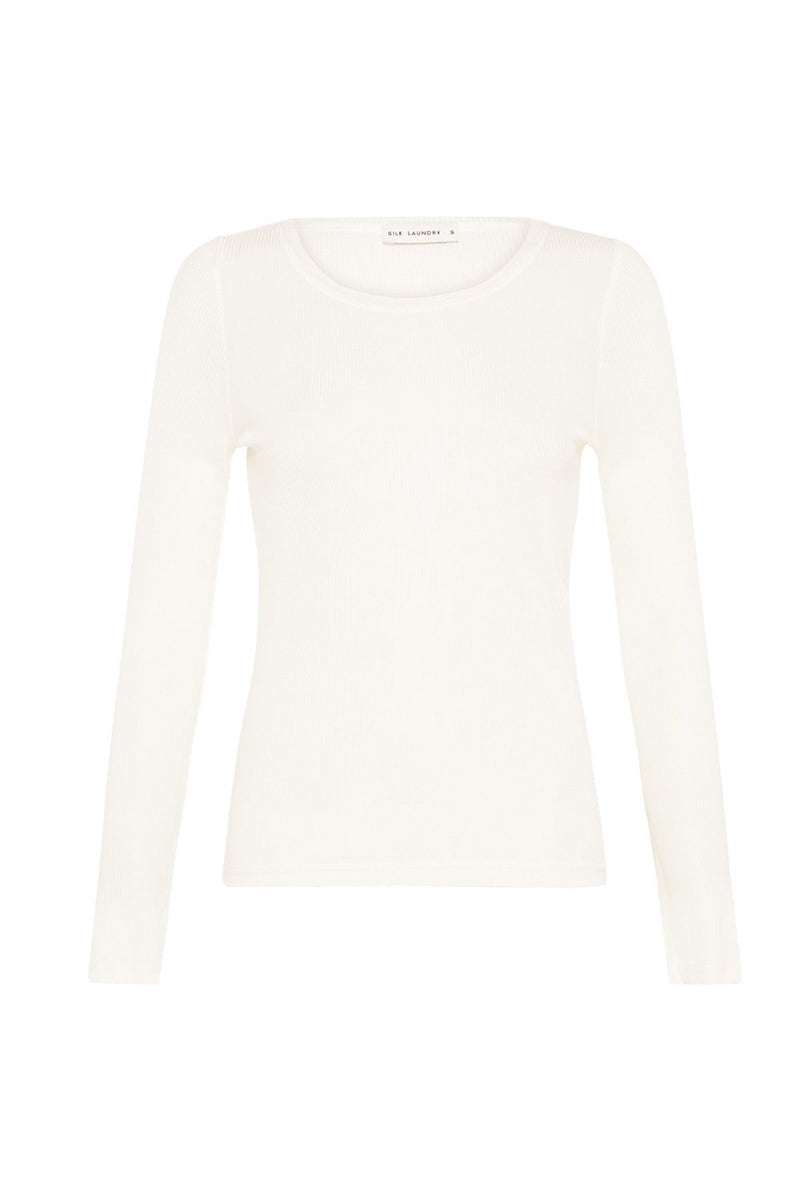 silk-laundry-LONG-SLEEVED-RIBBED-TOP-white