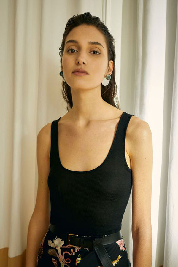 Silk Laundry Ribbed Tank Black