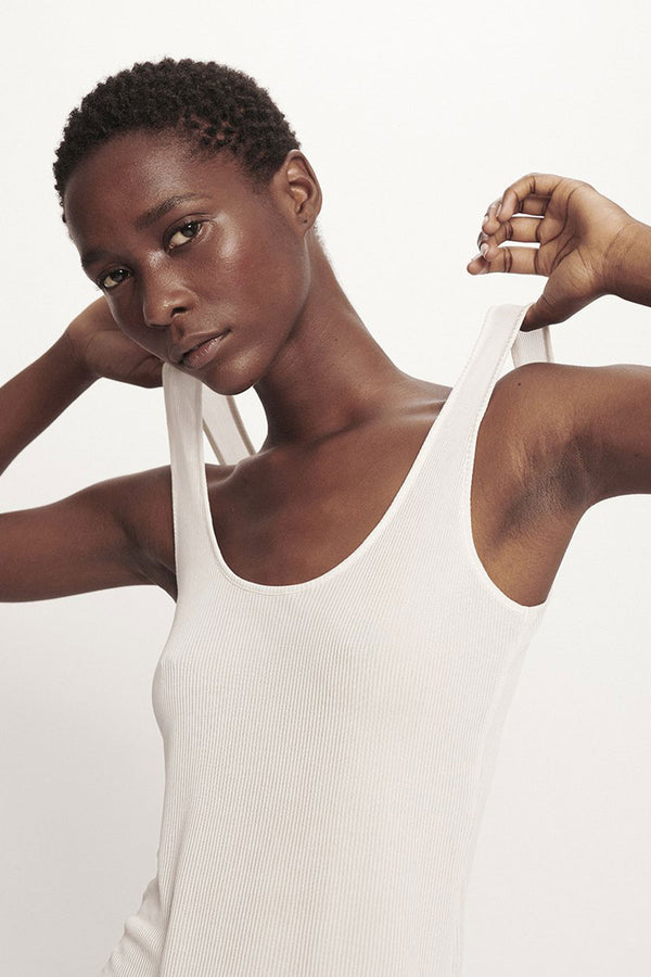 Silk Laundry Ribbed Tank White