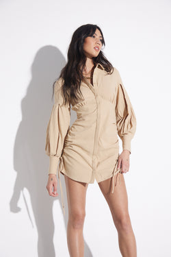 SOVERE-HAZE-SHIRT-DRESS-BISCUIT