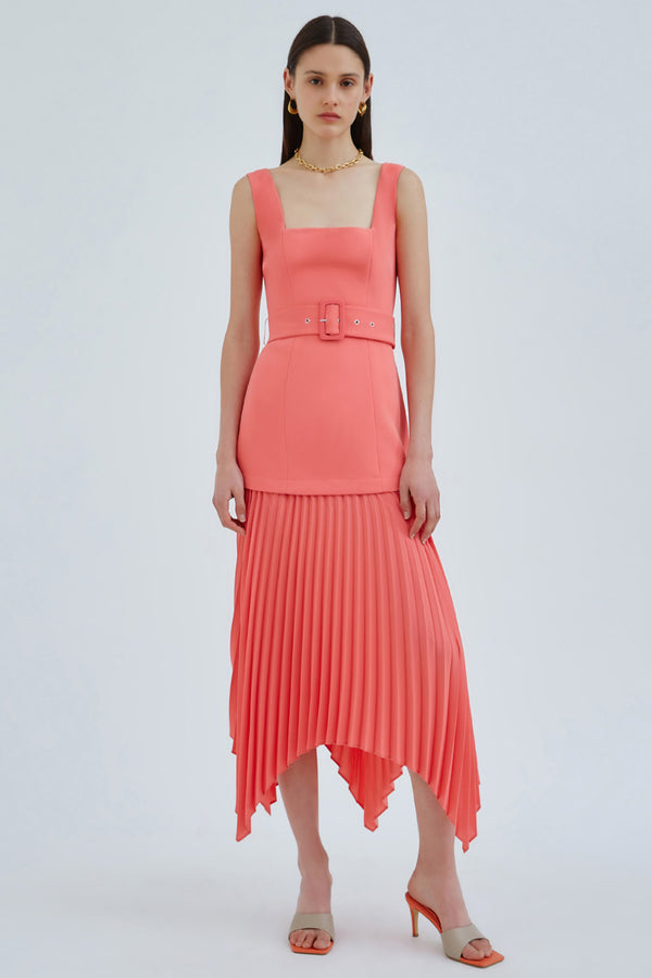 C/MEO-CONCERTINA-MIDI-DRESS-CORAL