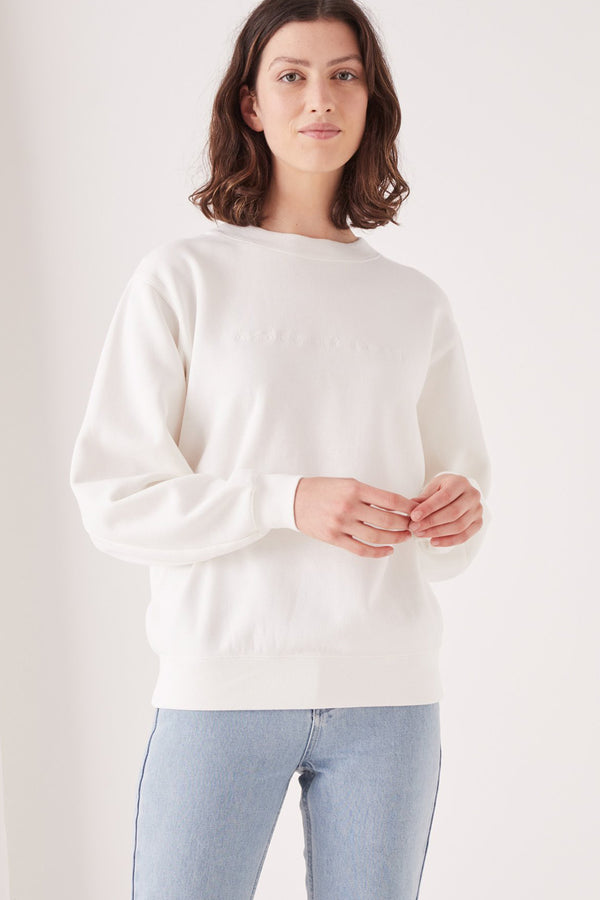 EMBROIDERED LOGO FLEECE - ANTIQUE WHITE