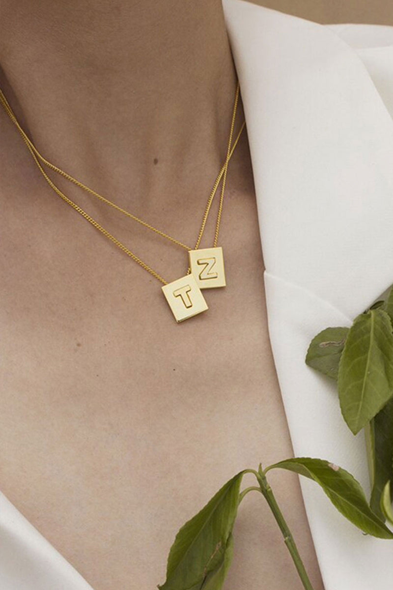 birdcage boutique FINE LETTER NECKLACE - GOLD