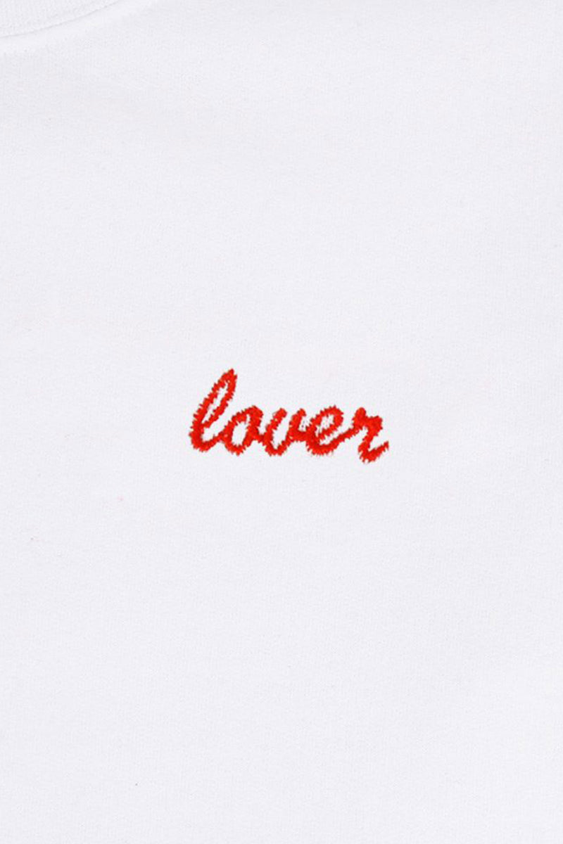 Double Trouble LOVER SWEATER - WHITE W/ RED