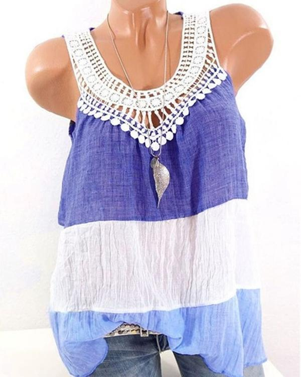 Splicing Contrast Color Sleeveless Crew Neck Camis Tops