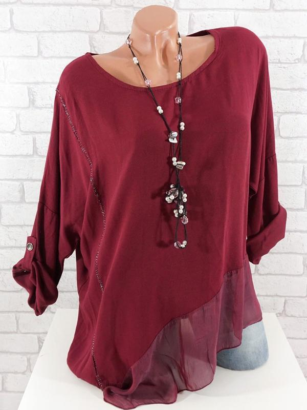 Casual Chiffon Stitching Crew Neck Plus Size Blouses Tops