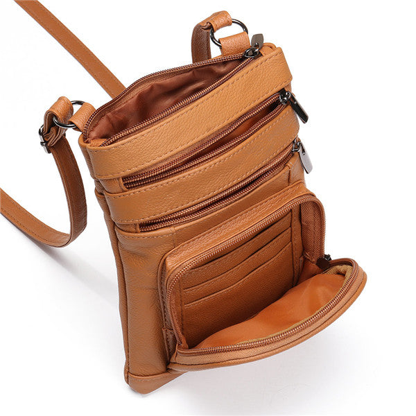 Women Multifunction Genuine Leather Phone Bag Solid Crossbody Bag