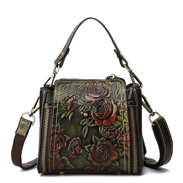 Embossed Craft Flower Handbag Genuine Leather Crossbody Bag