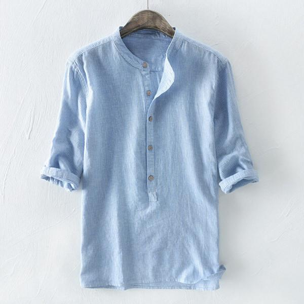 100% Cotton Breathable Striped Half Sleeve Loose Buttons T-Shirts