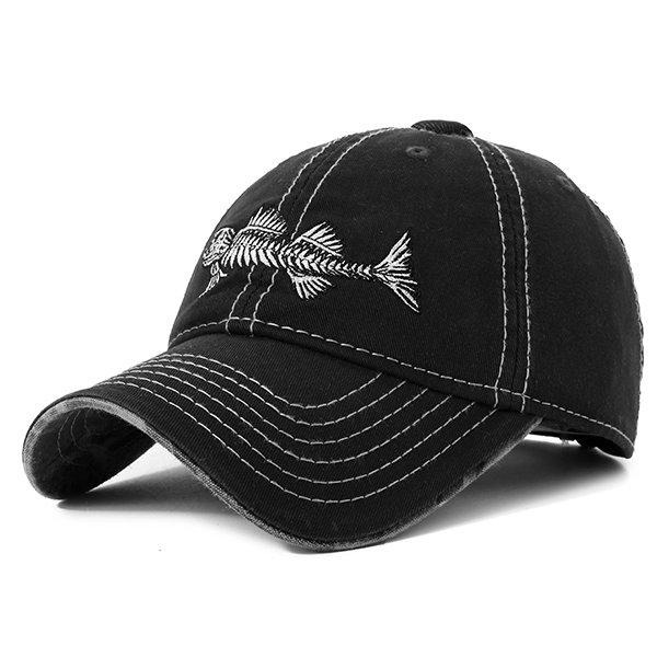 Embroidery Fish Bone Baseball Cap Breathable Outdoor Sunshade Hat