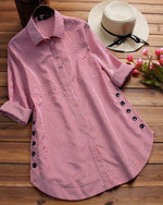 Women Casual Plaid Print  Buttons Irregular Long Sleeve Plus Size Blouses