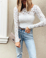 Fall Solid Sexy Lace Women Go-Out Shirts & Tops