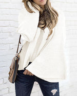 Fall Solid Sweater Design Casual Round Neck Shirts & Tops
