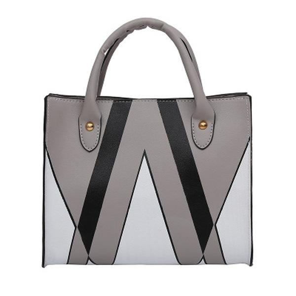 Triangle Print PU Leather Handbag for Women