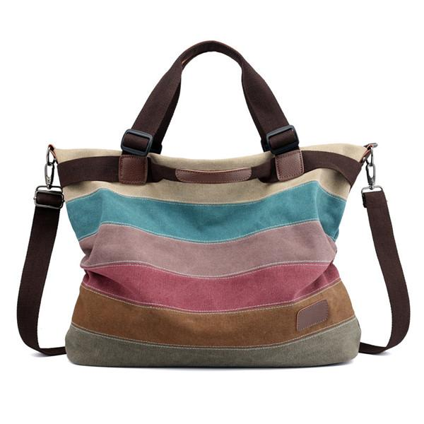 Canvas Striped Handbag Vintage Contrast Color Crossbody Bag