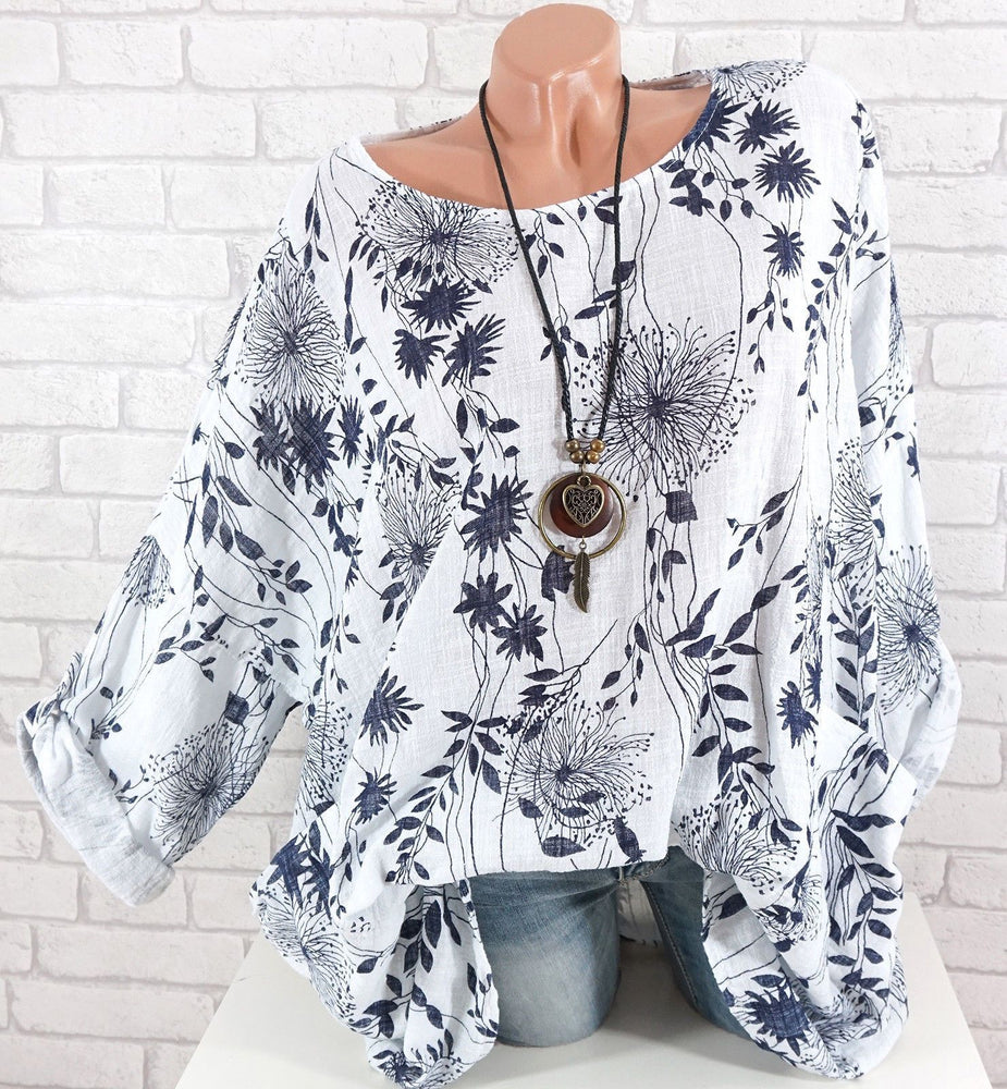 Casual Plus Size Long Sleeve Leaves Printed O-Neck T-shirts