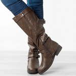 Vintage Winter Chunky Heel Knee-High Boots With Buckle Strap