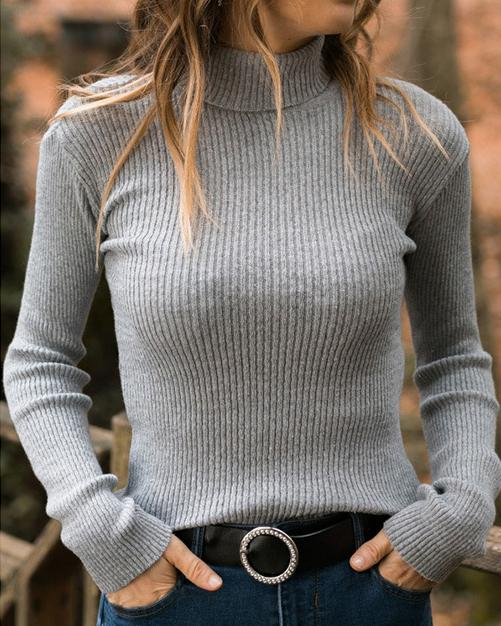 High Neck Sweater Loose Long Sleeve Fall Casual Shirts & Tops
