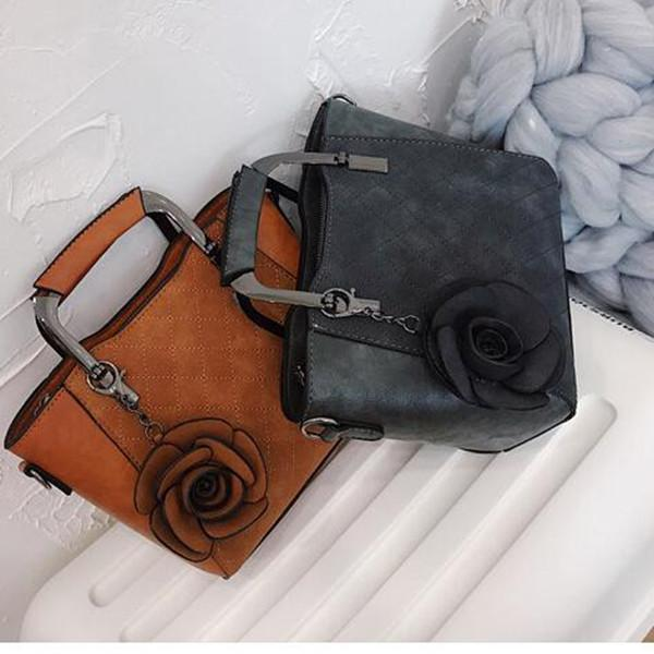 Retro Rose Handbag Mini PU Leather Crossbody Bag