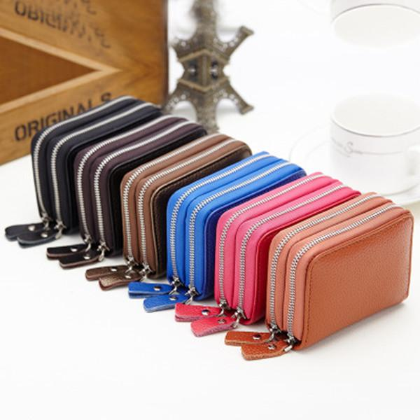 10 Card Slots PU Leather Card Holder Wallet 6 Colors