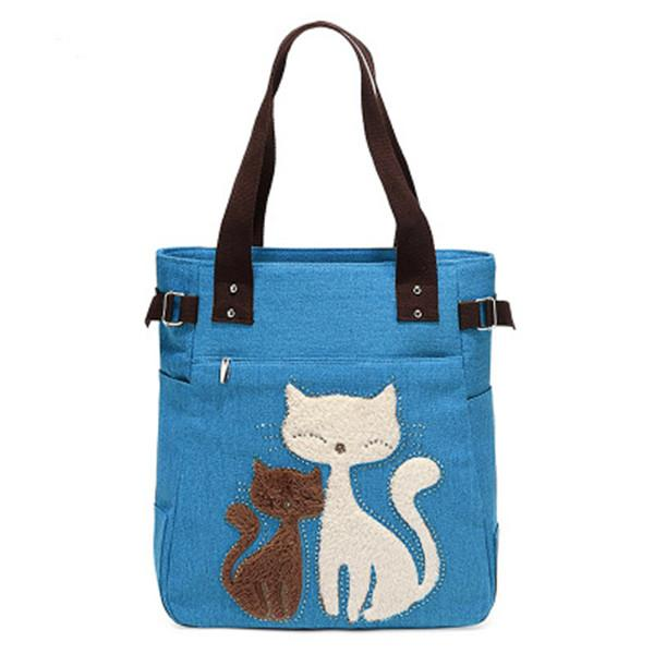 Casual Cute Cat Large Capacity Canvas Totes Handbag Shoulder Bag