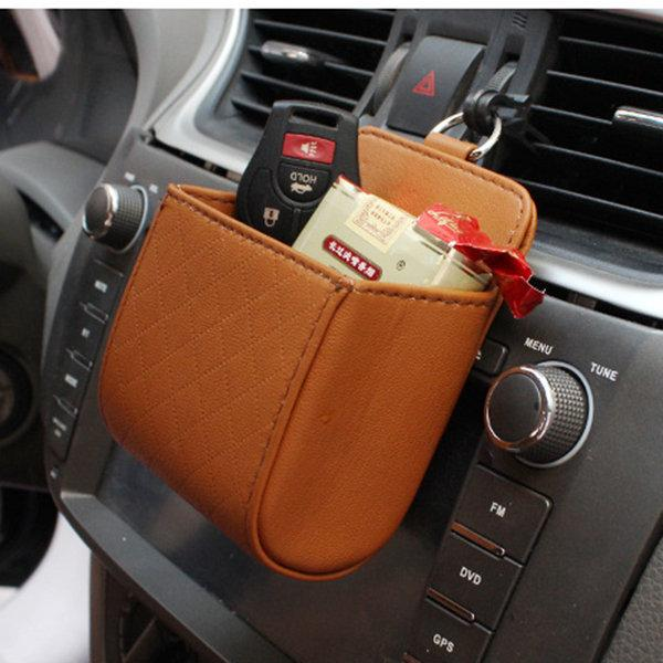 Auto Air Vent Car Storage Bag Multi-functional PU Leather Phone Bag Ditty Bag