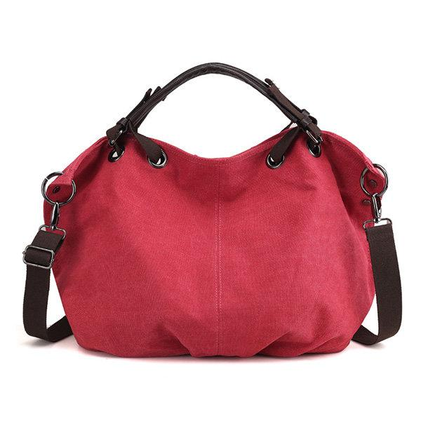 Canvas Retro Large Capacity Handbag Solid Portable Crossbody Bag
