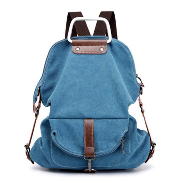 Casual Canvas Multi-pockets Backpack Crossbody Bag