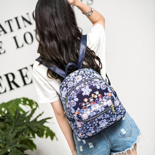 Bohemian Forest Series Floral Print Backpack 2 Size Bag