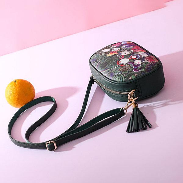 Bohemian Forest Printing Crossbody Bag PU Leather Phone Bag