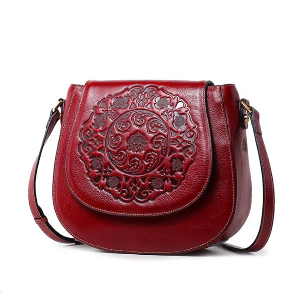 Causal Flower Print Cover Cowhide Leather Crossbody Bag