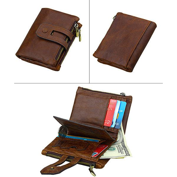 RFID Antimagnetic 11 Card Slots Vintage Genuine Leather Wallet